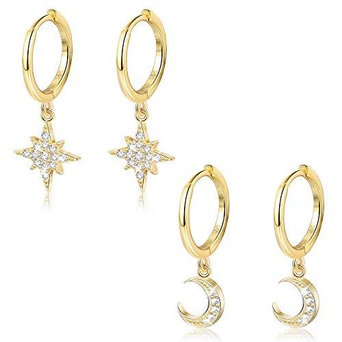 Milacolato 2 Pares de Plata de Ley 925 Moon Star Cuelga el Pendiente de Aro CZ Drop Huggie Cartilage Cute Earring Set para Mujer