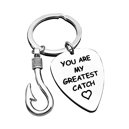 Fishing Keychain for Boyfriend Dad Husband Valentine's Day Christmas Gift You are My Greatest Catch Key Chain Gift Daddy Grandpa Keyring Couple Husband Birthday Thanksgiving Gift 1 PCS