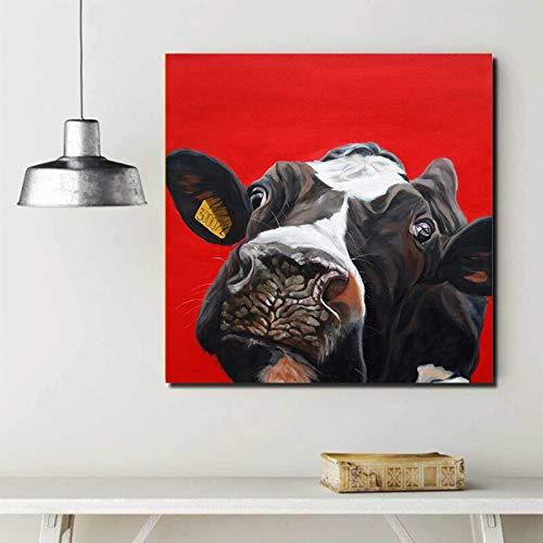 sanzangtang Pintura sin Marco Imprima inteligentemente la Imagen artística de la Linda Pintura al óleo Animal de Red Bull en el Lienzo ZGQ5109 70X70cm