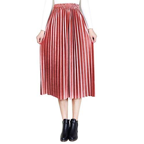 Röcke Damen Casual Young Fashion Sommerrock Damen Röcke Wetlook Hohe Taille Midi Hippie Velvet Flared Ausgestellt Lederrock Midi (Color : Rosa, Size : L)