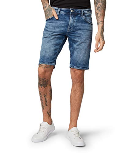 TOM TAILOR Denim Herren Shorts, Blau (Light Stone Wash Den 10280), M
