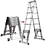 ALYR Multiusos Escalera Telescópica, Plegable Escalera Telescópica Extensible Escaleras de Mano Capacidad de Carga 150kg / 330lb para Uso doméstico Techo RV Actividades al Aire Libre,3.8m+3.8m