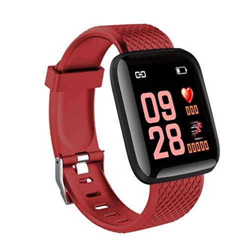 Kinshops 116 Plus Smart Watch Smartwatch da 1,3 Pollici con Schermo a Colori da 1,3 Pollici, Orologio da Fitness per attività Sportiva Impermeabile, Rosso