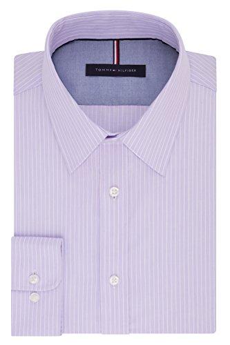 Tommy Hilfiger Men's Dress Shirt Slim Fit Non Iron Banker Stripe, Wild Orchid, 17' Neck 32'-33' Sleeve (X-Large)