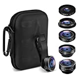 Cell Phone Camera Lens Kit,ARORY 5 in 1 iPhone Lens with Fisheye Lens+Macro Lens+ Wide Angle Lens+ Telephoto Lens and CPL Lens for iPhone, Samsung, Pixel (Without Remote Control)