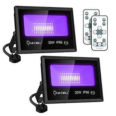 Onforu 2 Pack 30W LED UV Black Light, UV Floodlight with Remote, Daylight White, Timing, IP66 Waterproof Outdoor Ultraviolet Blacklight for Glow in the Dark Party, Stage, Fluorescent Poster, Garden