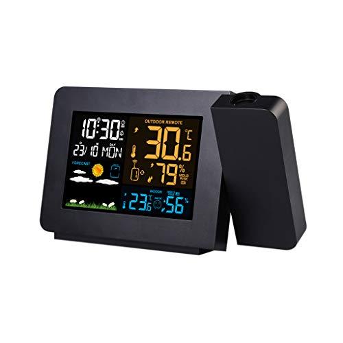 DUOER thuis Digitale Weerstation Weerstation Met Projectie Weermonitoring Klokken DCF Radio Controle Kalender 7 Talen Backlight Alarm Klokken
