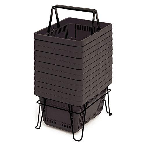 스탠드 블랙 플라스틱 17 X 11 3 | 4 X 9 (L X W X D) 세트 12의 쇼핑 바스켓
