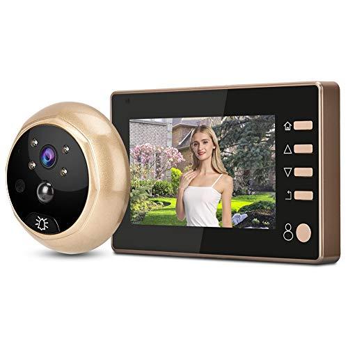 Tosuny Visor de Puerta Digital, cámara de Mirilla de 4.3 Pulgadas 1080P con Mirilla Compatible con 32 GB, Timbre de Seguridad para el hogar con PIR para Seguridad en el hogar.