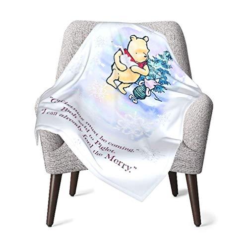 AOOEDM Winnie Christmas Quotes - Manta de bebé o manta mullida para niños, manta unisex para cuna, sillón, sala de estar, viaje, súper suave, cálida, manta para niños, talla única