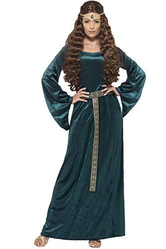 Smiffys-45497S Disfraz de Doncella Medieval, con Vestido y Diadema, Color Verde, S-EU Tamaño 36-38 (Smiffy
