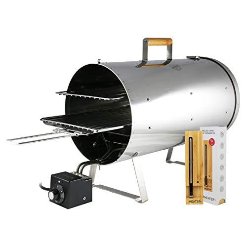 MUURIKKA Tischräucherofen PRO 1200W im Set mit MEATER+ regelbarer Elektro-Smoker kompakt aus Edelstahl, für Fisch&Fleisch inkl. kabellosem Meater+ Bluetooth Smart-Fleischthermometer mit 50m Reichweite