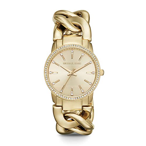 Michael Kors Women's Lady Nini Quartz Watch with Stainless-Steel-Plated Strap, Gold, 18 (Model: MK3235)