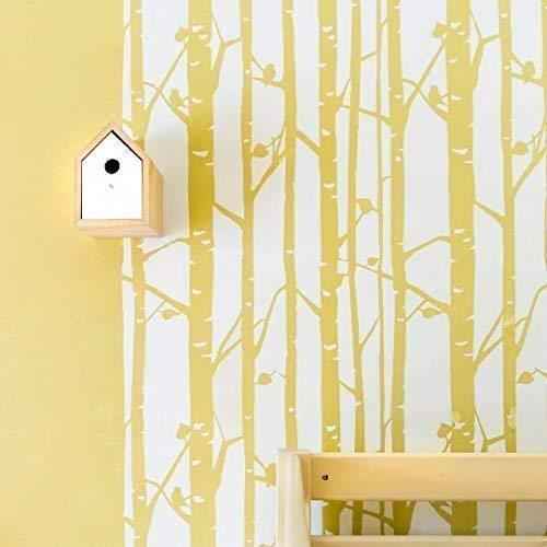 STENCILIT Wandschablone Groß Birkenwald - 61 x 95 cm - Wandschablone Kinderzimmer - Wand Deko Baum - Schablone Wand - Wanddekoration Wohnzimmer