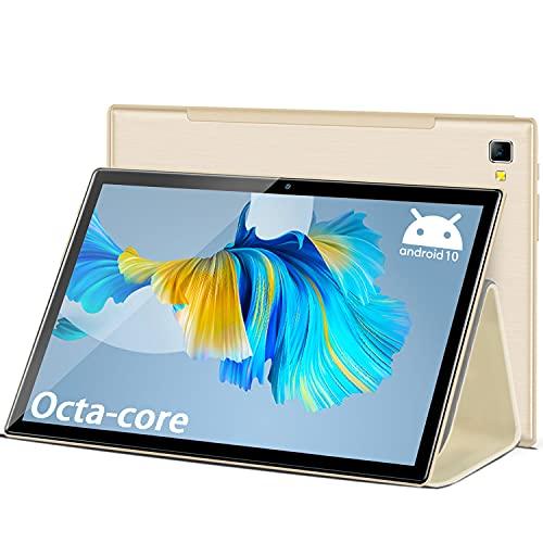Tablet 10 Pulgadas Octa Core 6GB RAM 64GB/512GB ROM 1920 * 1200 FHD Android 10.0 Tablet PC 4G LTE+5G WiFi Tablet Baratas y Buenas 6500mAh Cámara 5MP+8MP Bluetooth,GPS,Type-C,Google Play,Netflix(Oro)