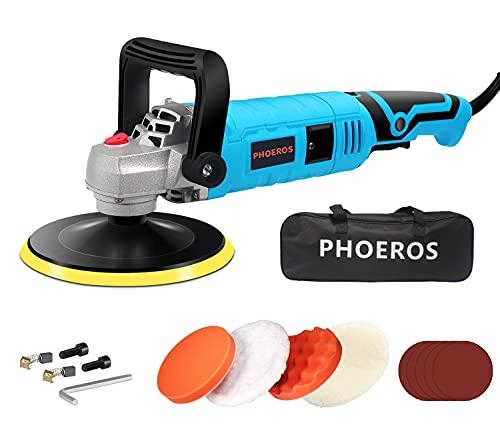 PHOEROS Buffer Polisher,7 inch Orbital car Buffer Polisher kit with 7 Variable Speed, 4 Pads, Tool Bag for Car Polishing Sanding and Waxing Sealing Glaze