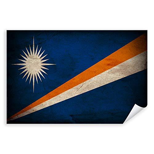 Postereck - 0381 - Vintage Flagge, Fahne Marshallinseln Majuro - Unterricht Klassenzimmer Schule Wandposter Fotoposter Bilder Wandbild Wandbilder - Leinwand - 100,0 cm x 75,0 cm