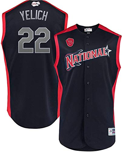 Christian Yelich Milwaukee Brewers MLB Majestic Youth 8-20 National League Navy All Star 2019 Player Jersey (Youth Large 14-16)