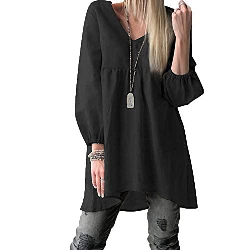WAEKQIANG Vestido Camisero Informal con Dobladillo Alto Y Bajo con Cuello En V De Color Puro para Mujer De Estilo Nuevo De OtoñO/Invierno
