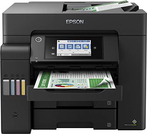 Epson EcoTank ET-5800 4-in-1 Tinten-Multifunktionsgerät (Kopie, Scan, Druck, Fax, A4, ADF, Full-Duplex, WiFi, Ethernet, Bildschirm, USB 2.0), großer Tintentank, hohe Reichweite, niedrige Seitenkosten
