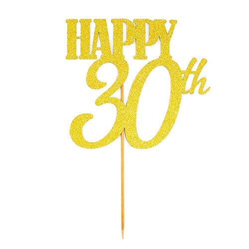 Oblique-Unique® Torten Kuchen Topper Aufsatz Happy 30th Geburtstag - Gold mit Glitzereffekt - Jubliäum Deko