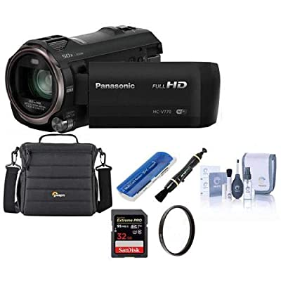 Panasonic Full HD Camcorder HC-V770, 20X Optical Zoom, Bundle Kit with Camcorder Case + 32GB SD Card + Memory Card Wallet + ProOptic Cleaning Kit + 49mm UV Filter + Lens Cleaner + Card Reader from Panasonic