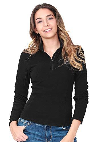 Camel Damen Half Zip Fleecejacke für Damen Pullover Langärmliges Sweatshirt Leichtes Outdoor Skirolli Fleeceshirt Schwarz EU XL