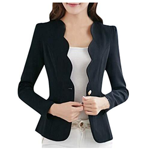 EDC Work Office Blazer One Button Jacket for Women and Petite Open Front Blazer Korean Style Cardigan Officewear with Pocket Black