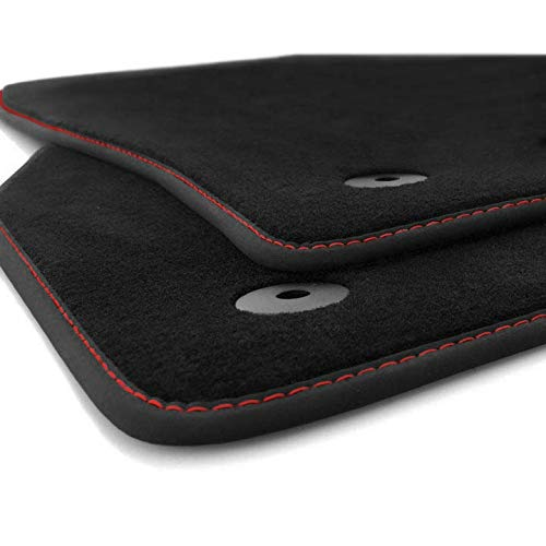 kh Teile Fußmatten Ibiza 5 Original Premium Qualität Velours Autoteppich 2-teilig, Rote Ziernaht