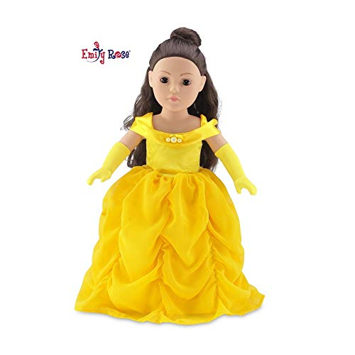 Emily Rose 18 Inch Doll Gorgeous Princess Belle-Inspired Ball Gown Doll Outfit with Matching Gloves | Fits 18' American Girl Dolls and Many More! |