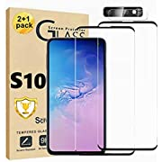 Galaxy S10 Screen Protector and Camera Lens Screen protector Compatible Fingerprint Easy installation Bubble Free Anti-Scratch 9H Hardness Full Coverage Tempered Glass Screen Protector for Samsung Galaxy S10 【2+1 Pack】