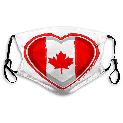 Fantastic Deal! Kvas Cool Mouth Shield for Gardening Climbing Daily Use Heart Shaped Flag of Canada ...