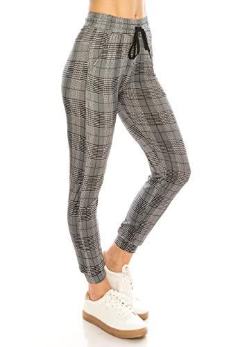 ALWAYS Women Drawstrings Jogger Sweatpants - Super Light Skinny Fit Premium Soft Stretch Plaid Checkered Pockets Track Pants Green White L