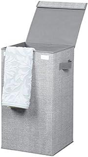 comprar comparacion mDesign Cubo de ropa para lavado color gris - Cesto plegable para colada - Cesta para ropa sucia con tapa - Ideal como bol...