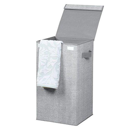 mDesign cesto portabiancheria con coperchio di colore grigio – cesto biancheria pieghevole perfetto anche in viaggio – portabiancheria in plastica