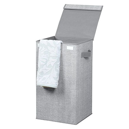 mDesign Cubo de ropa para lavado color gris - Cesto plegable para colada - Cesta para ropa sucia con tapa - Ideal como bolsa para guardar ropa durante viajes - Portátil, con asas - Plástico