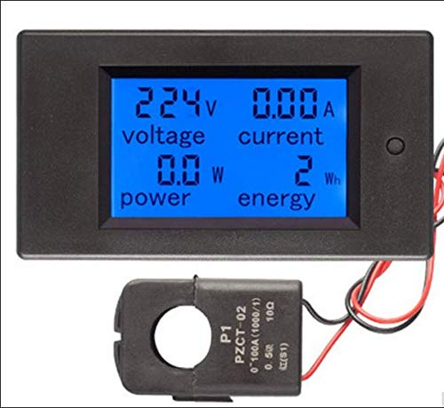 Voltmetro digitale CA 80-260 V 0-100 Amp, amperometro, potenza (W) e misuratore di energia (kWh) con display LCD e mini giunto a scatto, sensore 100 Amp