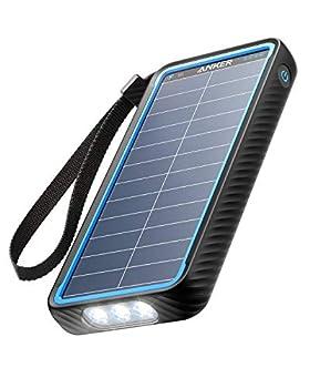 Anker Solar Power Bank PowerCore Solar 10000 Dual-Port Solar Charger with Flashlight IP64 Splashproof Dustproof for Outdoor Activities Compatible with Smartphones