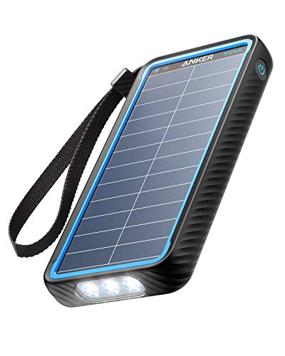 Anker Solar Power Bank, PowerCore Solar 10000 Dual-Port Solar Charger with Flashlight, IP64 Splashproof, Dustproof for Camping/Outdoor Activities, Compatible with iPhone, Samsung Smartphones.