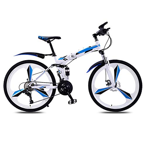 OFFA Outroad Mountain Boys Bike,24/26 Inch 21-Speed Full Suspension MTB Bikes,3 Spoke Wheels Folding Mountain Bike,Carbon Steel Frame, Double Disc Brake, Bicycles Outdoor Sport