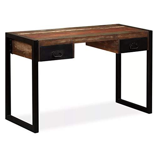 Wakects Mesa de mesa de entrada, mesa de ordenador, mesa auxiliar, escritorio con 2 cajones, sala de estar, pasillo, madera maciza reciclada, 120 x 50 x 76 cm
