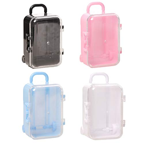 ButyYI 4 Pieces Mini Plastic Toy Travel Suitcase Candy Box Suit for Doll Wedding Party Decoration