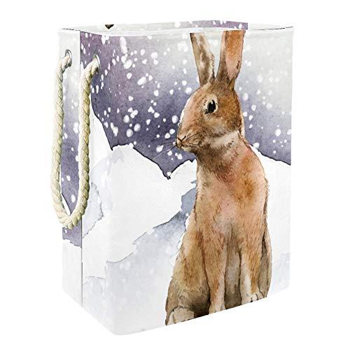 Lapin dans l'illustration de neige Boîte De Rangement Pour Jouets Avec Poignée Souple Pliable Pour Salle De Jeux De Crèche 49x30x40.5 cm