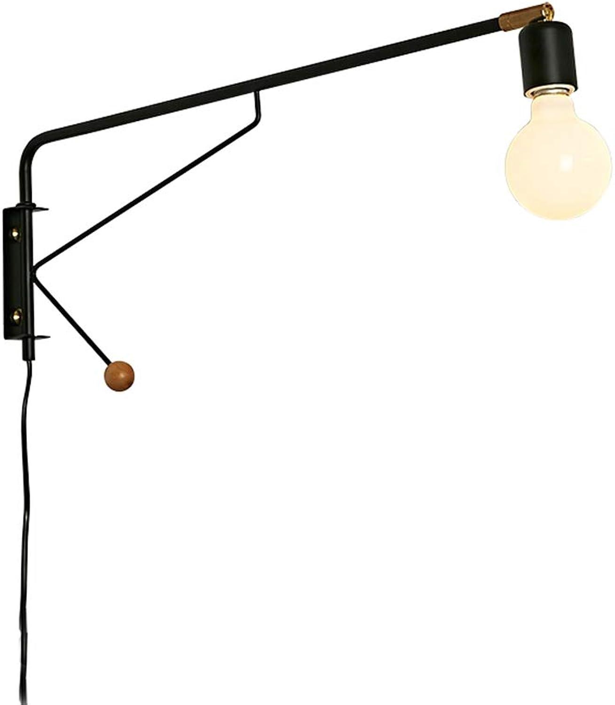 Minimalistische Schwenkbar Langarm Metall Wandleuchte mit Schalter und Stecker Kreative Verstellbare Innen Bettlampe Wandlampe für Wohnzimmer SchlafzimmerBüro Studieren,35cm