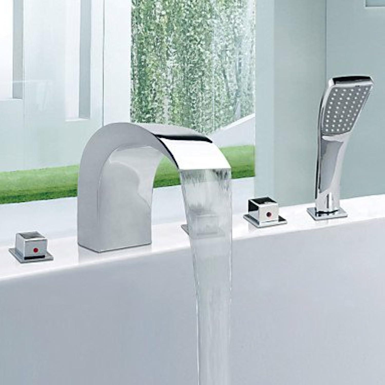 HONGHUIYU Bathtub Faucet - Contemporary Chrome Tub And Shower Ceramic Valve