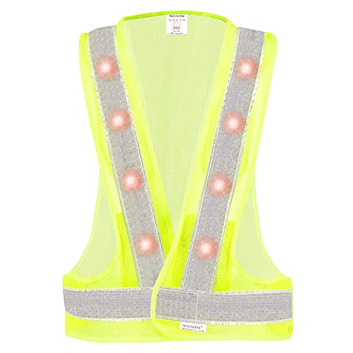 SULWZM LED Safety Vest, 16 Lights with 3 Modes, High Visibility Reflective Running Vest(Yellow, Free Size)