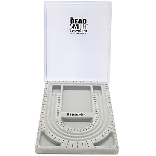 Diseño de cuentas en tablero de cuentas y rebaño gris con tapa, 20 x 13 pulgadas