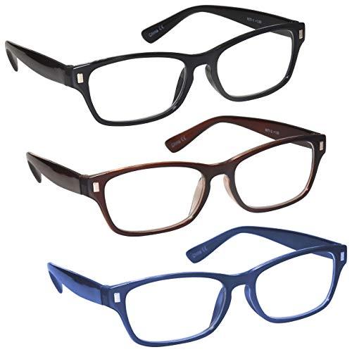 La Compañía Gafas De Lectura Negro Marrón Azul Oscuro Lectores Valor Pack 3 Hombres Mujeres RRR77-123 +2,00
