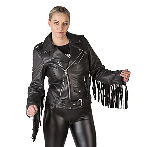 New Rock Chaqueta de mujer de cuero negro con flecos Woman Leather Jacket NRLWJ019-S1 (ESTANDAR, m)