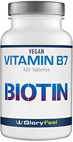 GloryFeel® Biotin Haar-Vitamine - VERGLEICHSSIEGER 2019* - 10.000 µg 400 Tabletten - Haare, Haut & Nägel-Kur für über 1 Jahr - Laborgeprüft, Hochdosiert, Vegan hergestellt in Deutschland